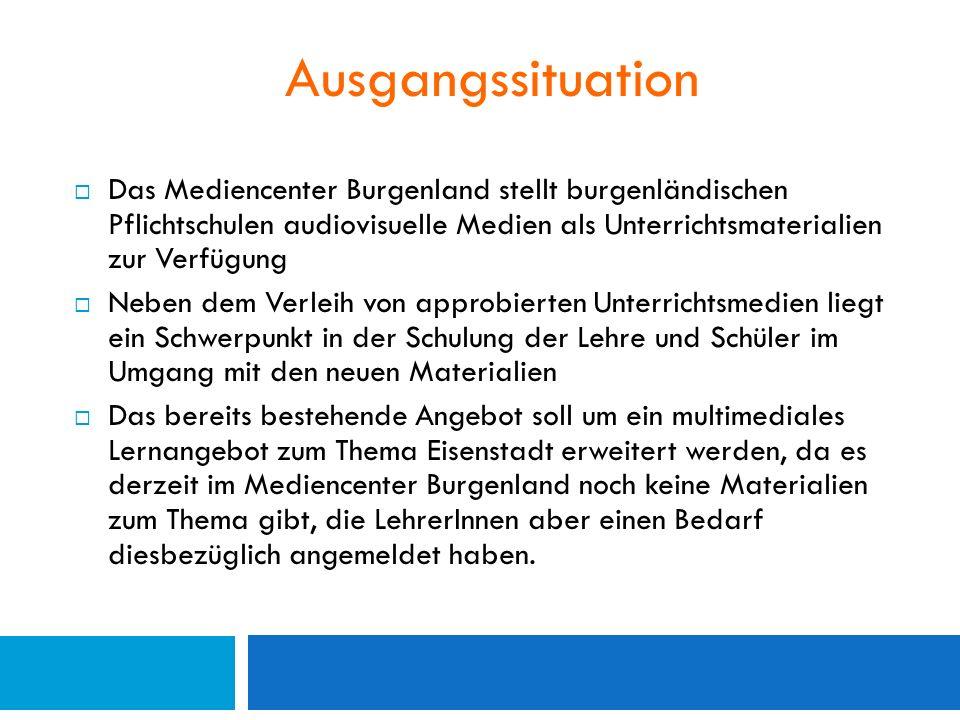 """Ziele  Erstellung eines schriftlichen Konzeptes für die multimediale Aufbereitung des Spezialthemas """"Eisenstadt zur Ergänzung des Sachunterrichts der 4."""