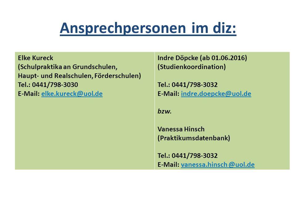 Ansprechpersonen im diz: Elke Kureck (Schulpraktika an Grundschulen, Haupt- und Realschulen, Förderschulen) Tel.: 0441/798-3030 E-Mail: elke.kureck@uo