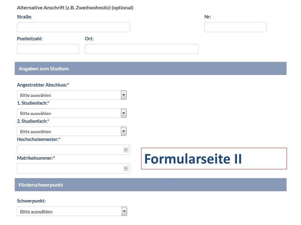 Formularseite II