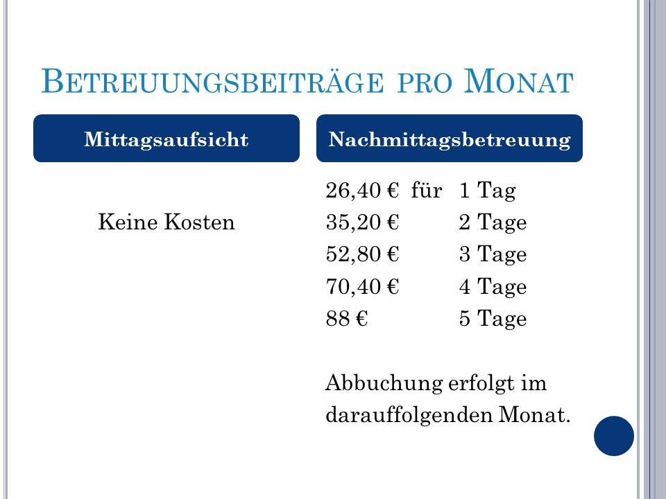 B ETREUUNGSBEITRÄGE PRO M ONAT Keine Kosten 26,40 € für1 Tag 35,20 €2 Tage 52,80 €3 Tage 70,40 €4 Tage 88 €5 Tage Abbuchung erfolgt im darauffolgenden Monat.