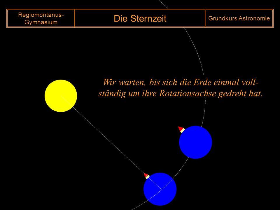 Morgen Aber nicht 12 Uhr !!! Regiomontanus- Gymnasium Die Sternzeit Grundkurs Astronomie