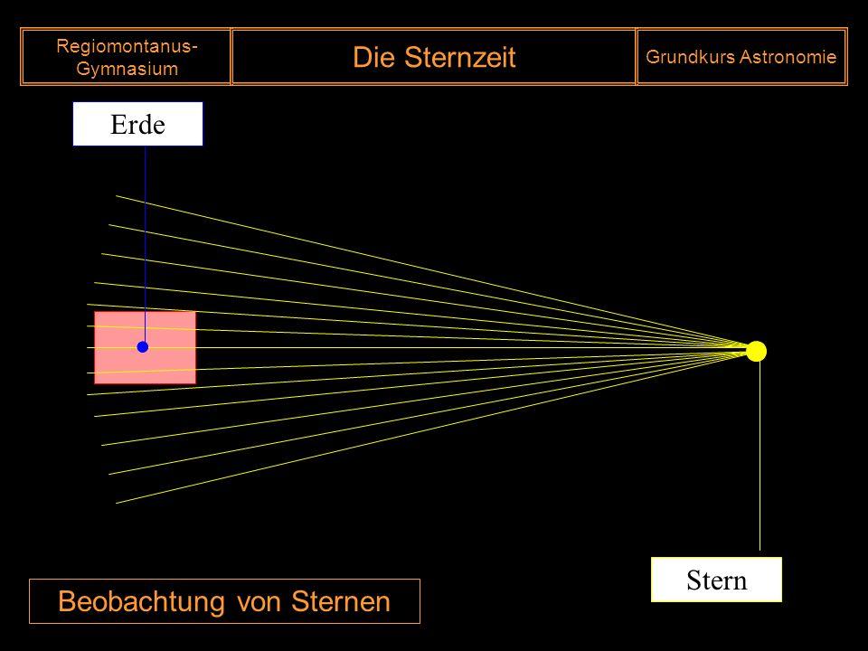 Regiomontanus- Gymnasium Die Sternzeit Grundkurs Astronomie
