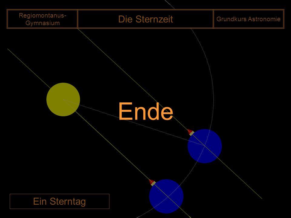 Regiomontanus- Gymnasium Die Sternzeit Grundkurs Astronomie Ein Sterntag Ende