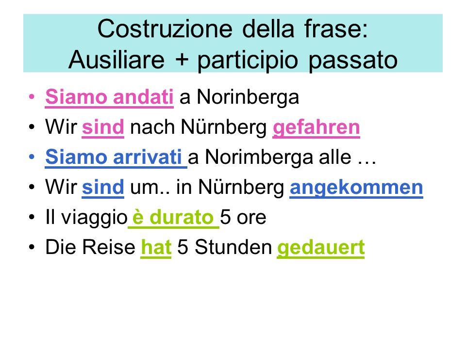 Costruzione della frase: Ausiliare + participio passato Siamo andati a Norinberga Wir sind nach Nürnberg gefahren Siamo arrivati a Norimberga alle … Wir sind um..