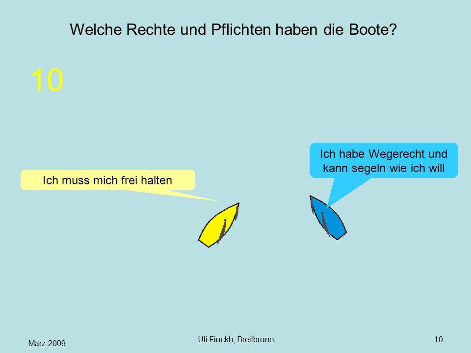 März 2009 Uli Finckh, Breitbrunn10 Welche Rechte und Pflichten haben die Boote? Ich muss mich frei halten Ich habe Wegerecht und kann segeln wie ich w