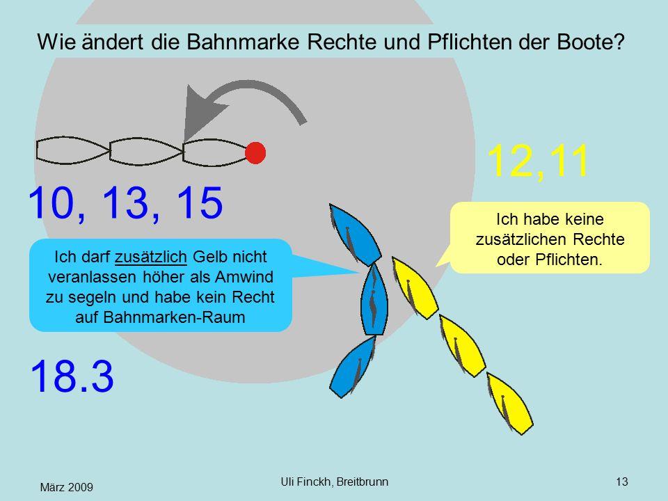 März 2009 Uli Finckh, Breitbrunn13 Wie ändert die Bahnmarke Rechte und Pflichten der Boote? Ich darf zusätzlich Gelb nicht veranlassen höher als Amwin