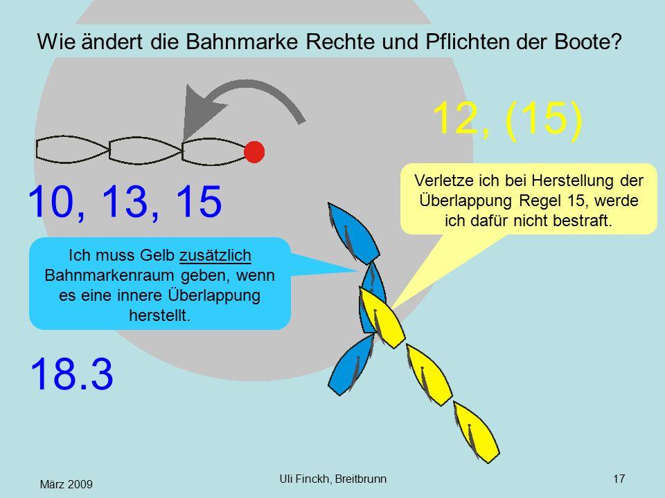 März 2009 Uli Finckh, Breitbrunn17 Wie ändert die Bahnmarke Rechte und Pflichten der Boote? Ich muss Gelb zusätzlich Bahnmarkenraum geben, wenn es ein