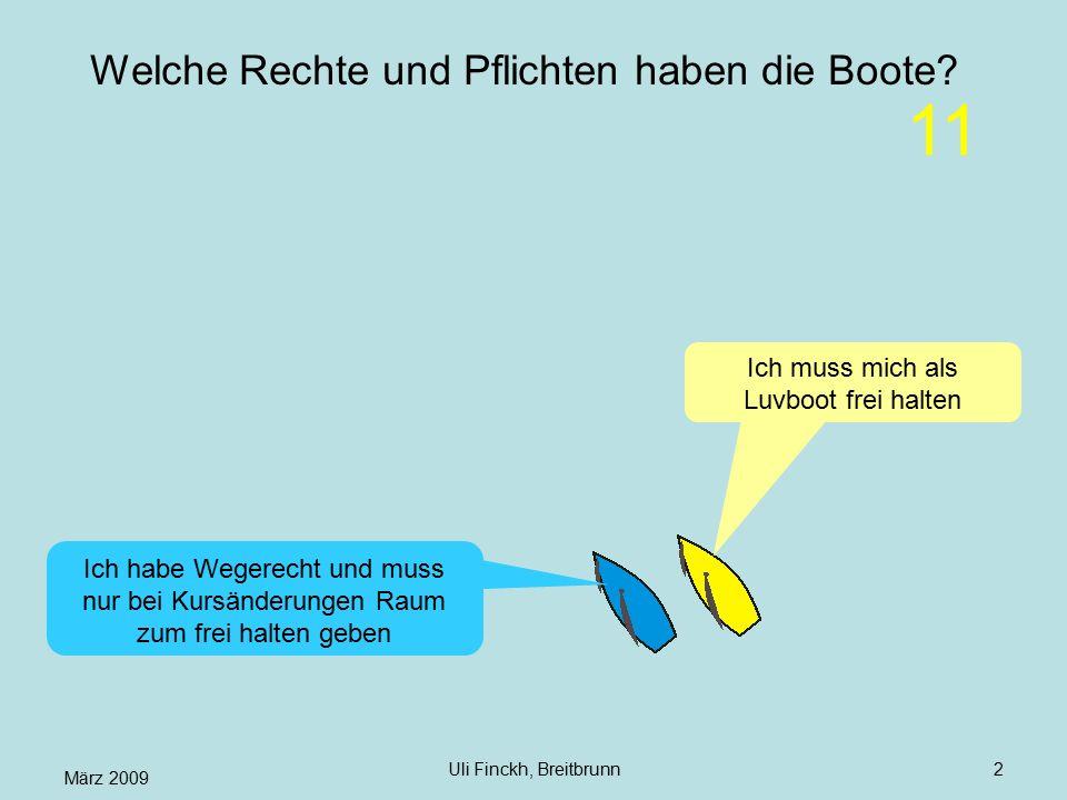 März 2009 Uli Finckh, Breitbrunn2 Welche Rechte und Pflichten haben die Boote? Ich muss mich als Luvboot frei halten Ich habe Wegerecht und muss nur b