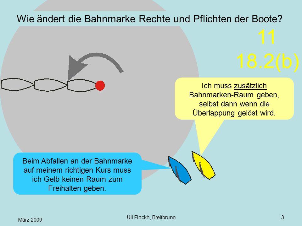 März 2009 Uli Finckh, Breitbrunn3 Wie ändert die Bahnmarke Rechte und Pflichten der Boote? Ich muss zusätzlich Bahnmarken-Raum geben, selbst dann wenn