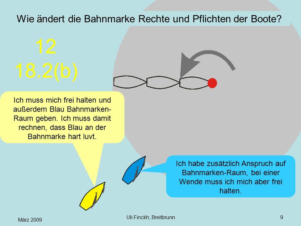 März 2009 Uli Finckh, Breitbrunn9 Wie ändert die Bahnmarke Rechte und Pflichten der Boote? Ich muss mich frei halten und außerdem Blau Bahnmarken- Rau