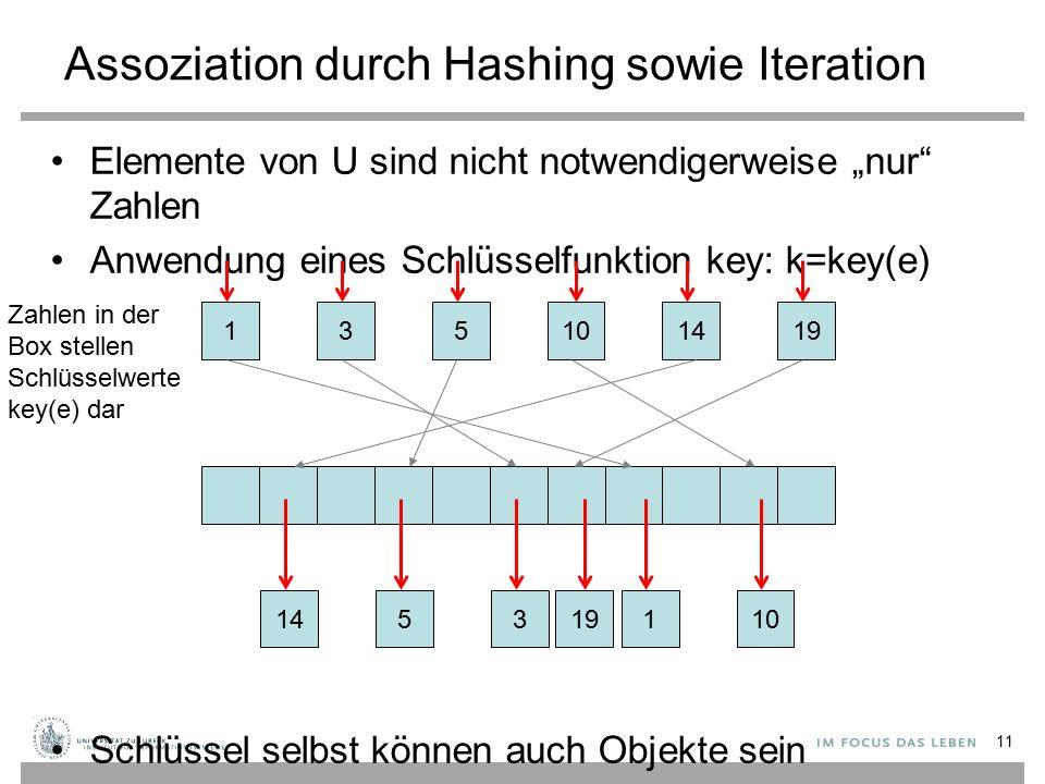 """Assoziation durch Hashing sowie Iteration 11 Elemente von U sind nicht notwendigerweise """"nur Zahlen Anwendung eines Schlüsselfunktion key: k=key(e) Schlüssel selbst können auch Objekte sein 135141910 1453 19 110 Zahlen in der Box stellen Schlüsselwerte key(e) dar"""
