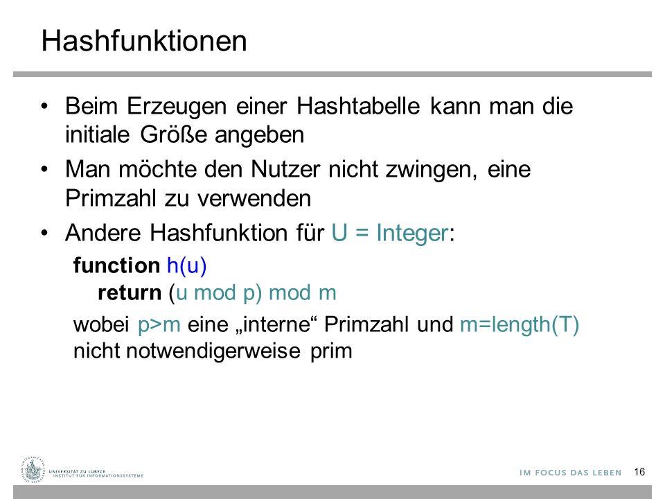 """Hashfunktionen Beim Erzeugen einer Hashtabelle kann man die initiale Größe angeben Man möchte den Nutzer nicht zwingen, eine Primzahl zu verwenden Andere Hashfunktion für U = Integer: function h(u) return (u mod p) mod m wobei p>m eine """"interne Primzahl und m=length(T) nicht notwendigerweise prim 16"""