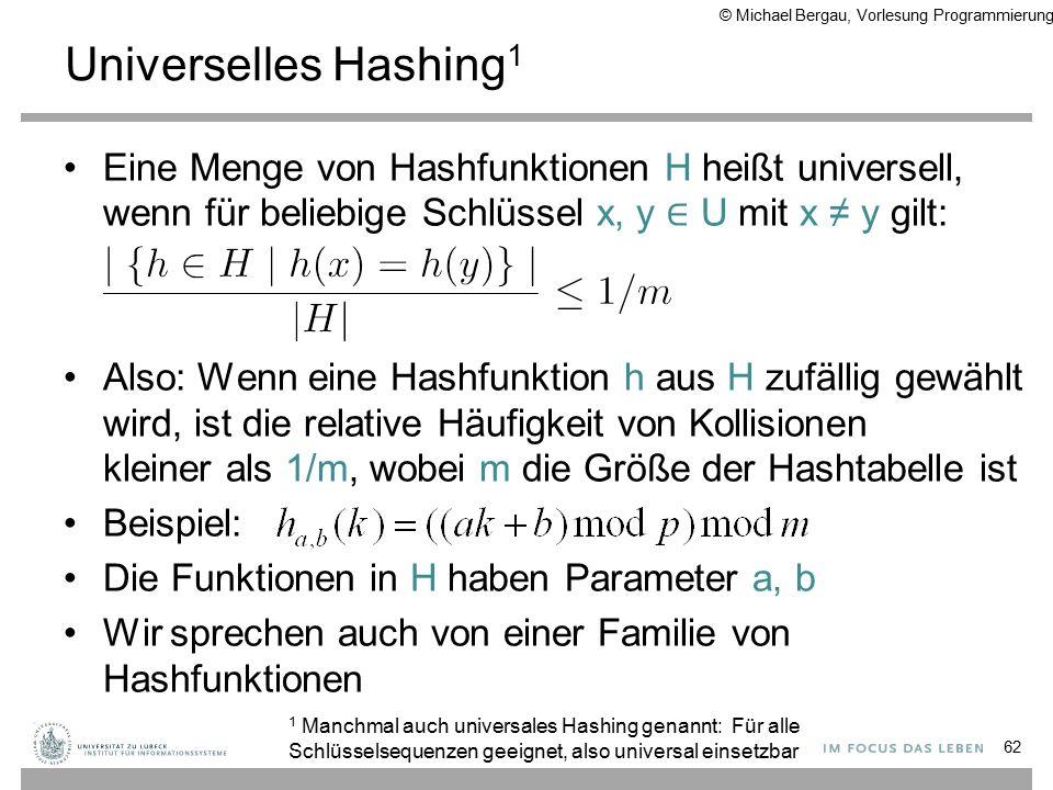 Universelles Hashing 1 Eine Menge von Hashfunktionen H heißt universell, wenn für beliebige Schlüssel x, y ∈ U mit x ≠ y gilt: Also: Wenn eine Hashfunktion h aus H zufällig gewählt wird, ist die relative Häufigkeit von Kollisionen kleiner als 1/m, wobei m die Größe der Hashtabelle ist Beispiel: Die Funktionen in H haben Parameter a, b Wir sprechen auch von einer Familie von Hashfunktionen 62 1 Manchmal auch universales Hashing genannt: Für alle Schlüsselsequenzen geeignet, also universal einsetzbar © Michael Bergau, Vorlesung Programmierung II