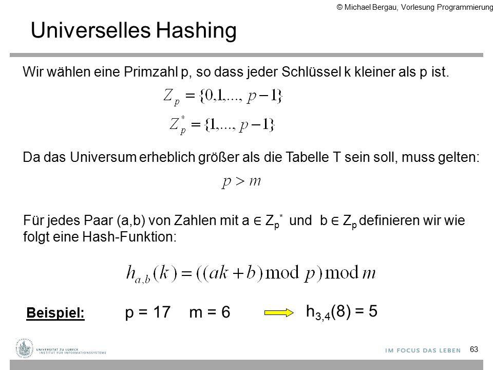Universelles Hashing 63 Wir wählen eine Primzahl p, so dass jeder Schlüssel k kleiner als p ist.
