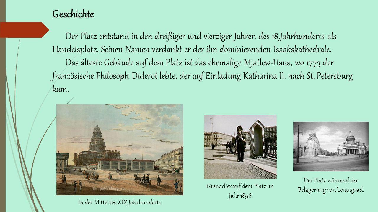 In der Mitte des XIX Jahrhunderts Grenadier auf dem Platz im Jahr 1896 Der Platz während der Belagerung von Leningrad.