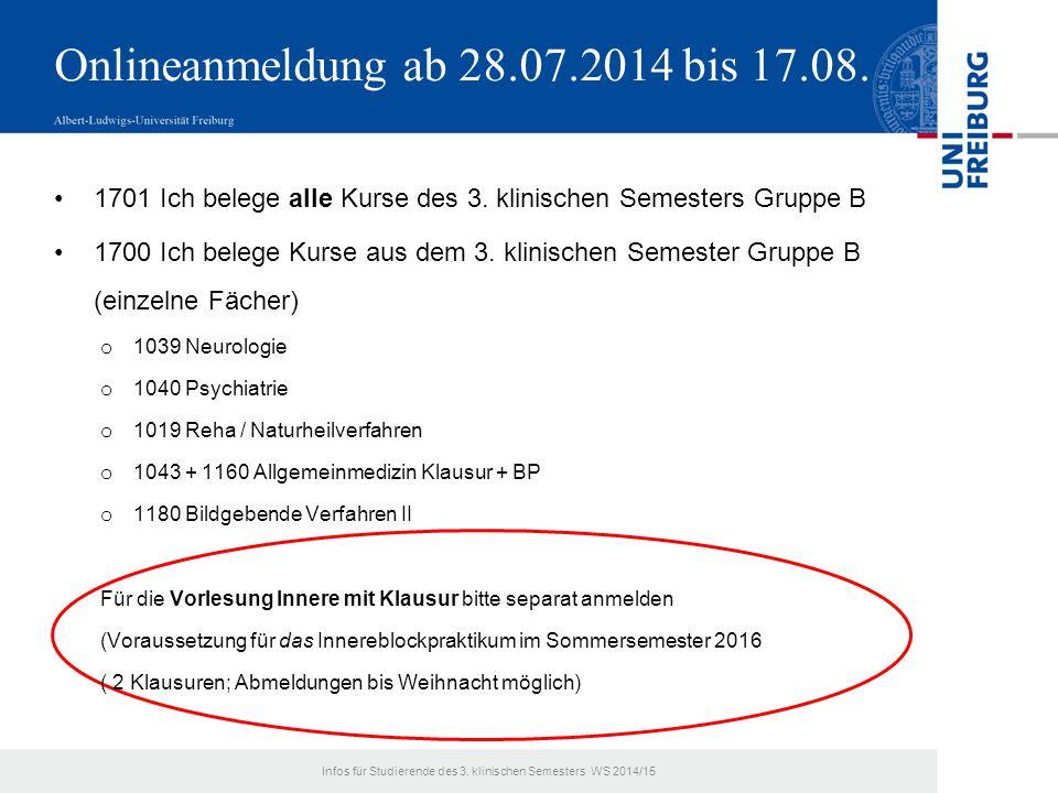 Onlineanmeldung ab 28.07.2014 bis 17.08. 1701 Ich belege alle Kurse des 3.