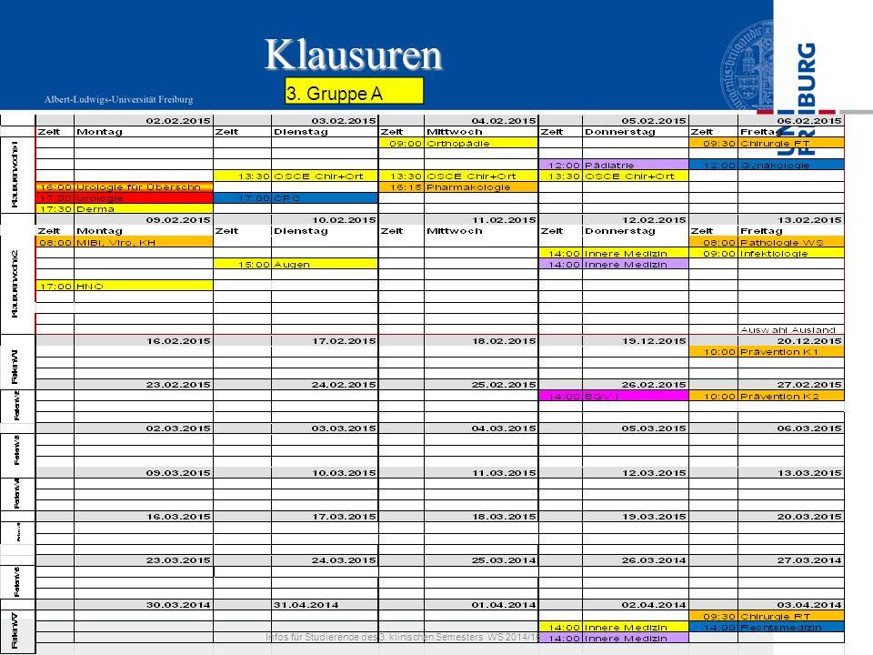 Klausuren 3. Gruppe A Infos für Studierende des 3. klinischen Semesters WS 2014/15