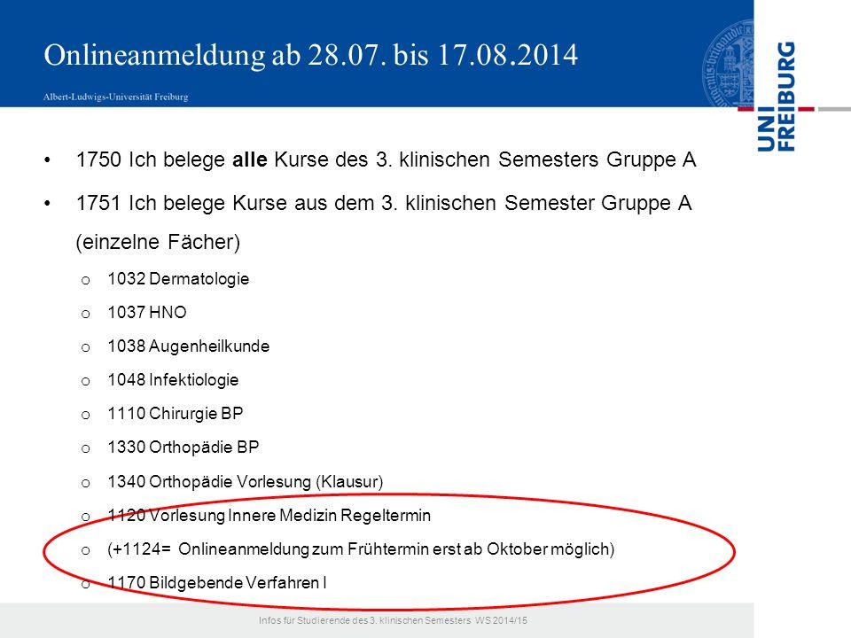Onlineanmeldung ab 28.07. bis 17.08. 2014 1750 Ich belege alle Kurse des 3.