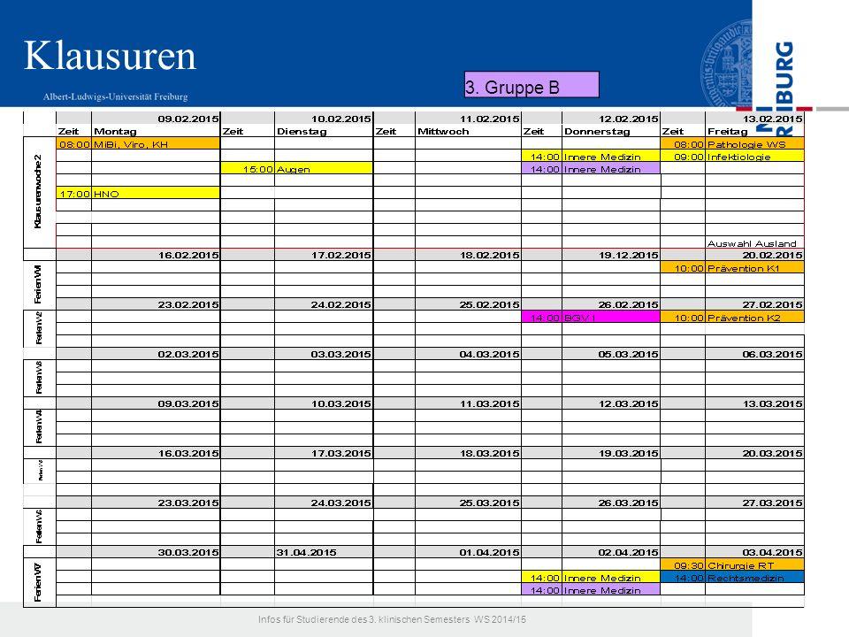 Klausuren 3. Gruppe B Infos für Studierende des 3. klinischen Semesters WS 2014/15