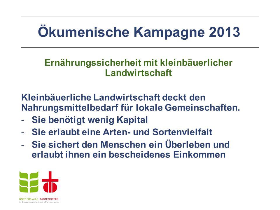 Ökumenische Kampagne 2013 Ernährungssicherheit mit kleinbäuerlicher Landwirtschaft Kleinbäuerliche Landwirtschaft deckt den Nahrungsmittelbedarf für lokale Gemeinschaften.