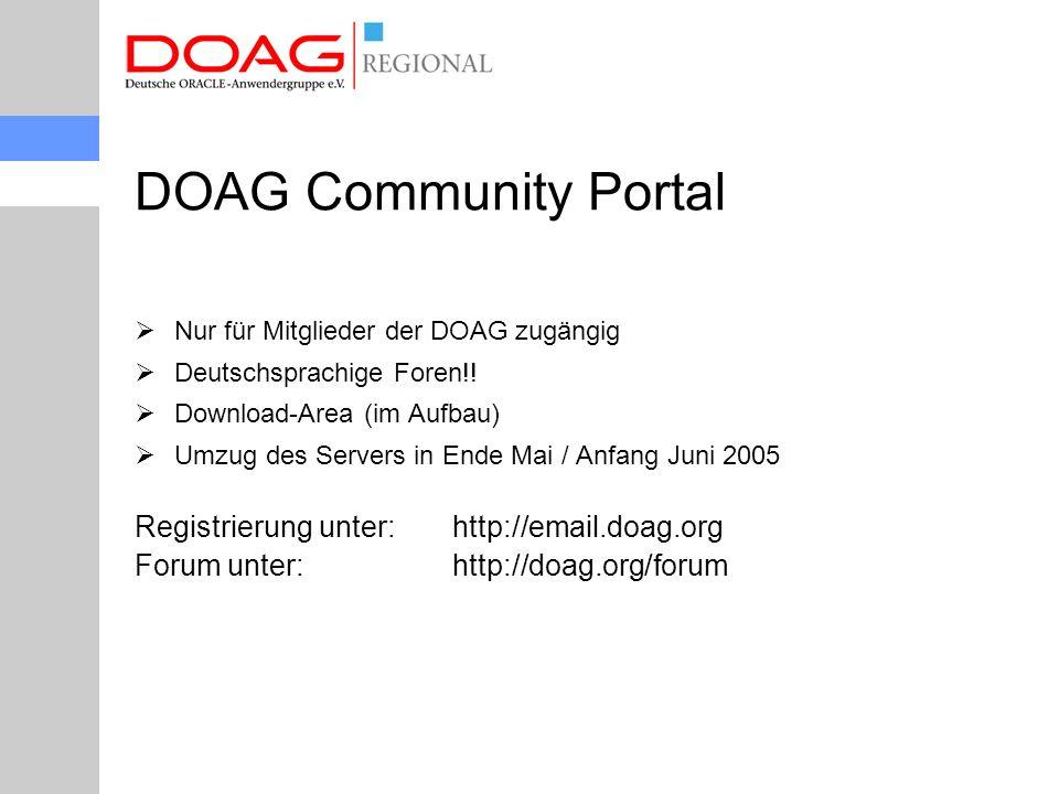 DOAG Community Portal  Nur für Mitglieder der DOAG zugängig  Deutschsprachige Foren!.