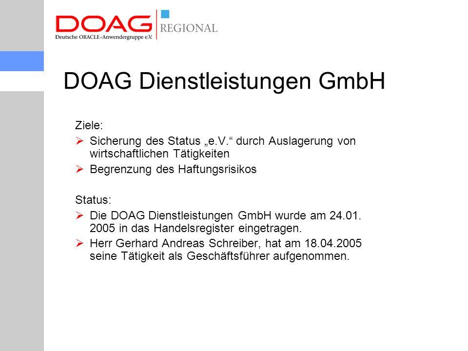 """DOAG Dienstleistungen GmbH Ziele:  Sicherung des Status """"e.V. durch Auslagerung von wirtschaftlichen Tätigkeiten  Begrenzung des Haftungsrisikos Status:  Die DOAG Dienstleistungen GmbH wurde am 24.01."""