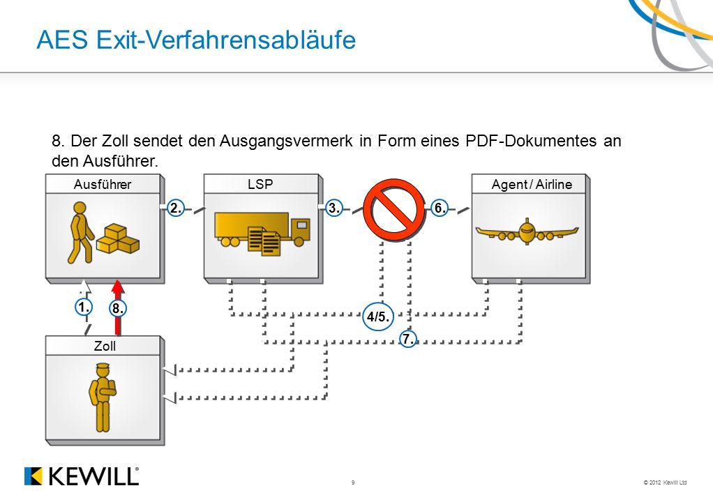 © 2012 Kewill Ltd 9 AES Exit-Verfahrensabläufe AusführerLSPAgent / Airline Zoll 2.3.6. 1. 8. 7. 8. Der Zoll sendet den Ausgangsvermerk in Form eines P
