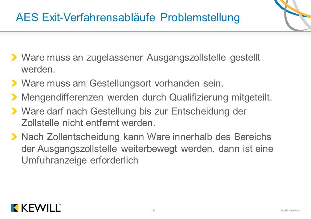 © 2012 Kewill Ltd 10 AES Exit-Verfahrensabläufe Problemstellung Ware muss an zugelassener Ausgangszollstelle gestellt werden.