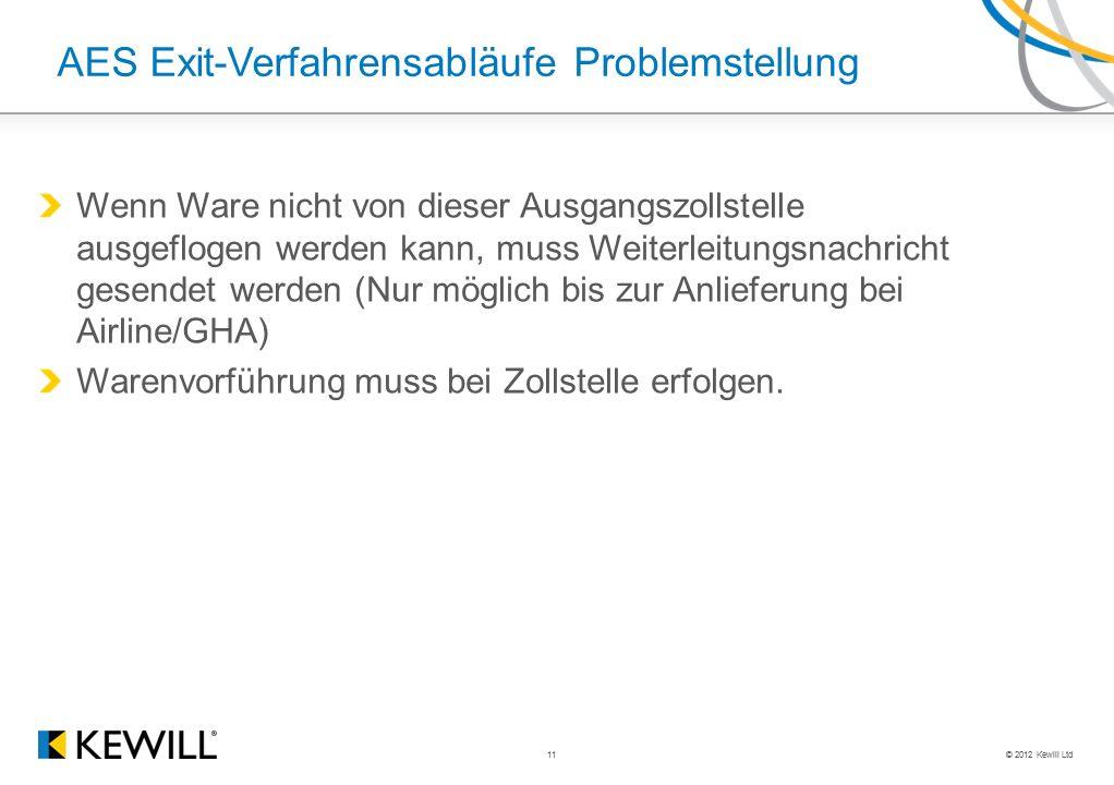 © 2012 Kewill Ltd 11 AES Exit-Verfahrensabläufe Problemstellung Wenn Ware nicht von dieser Ausgangszollstelle ausgeflogen werden kann, muss Weiterleit