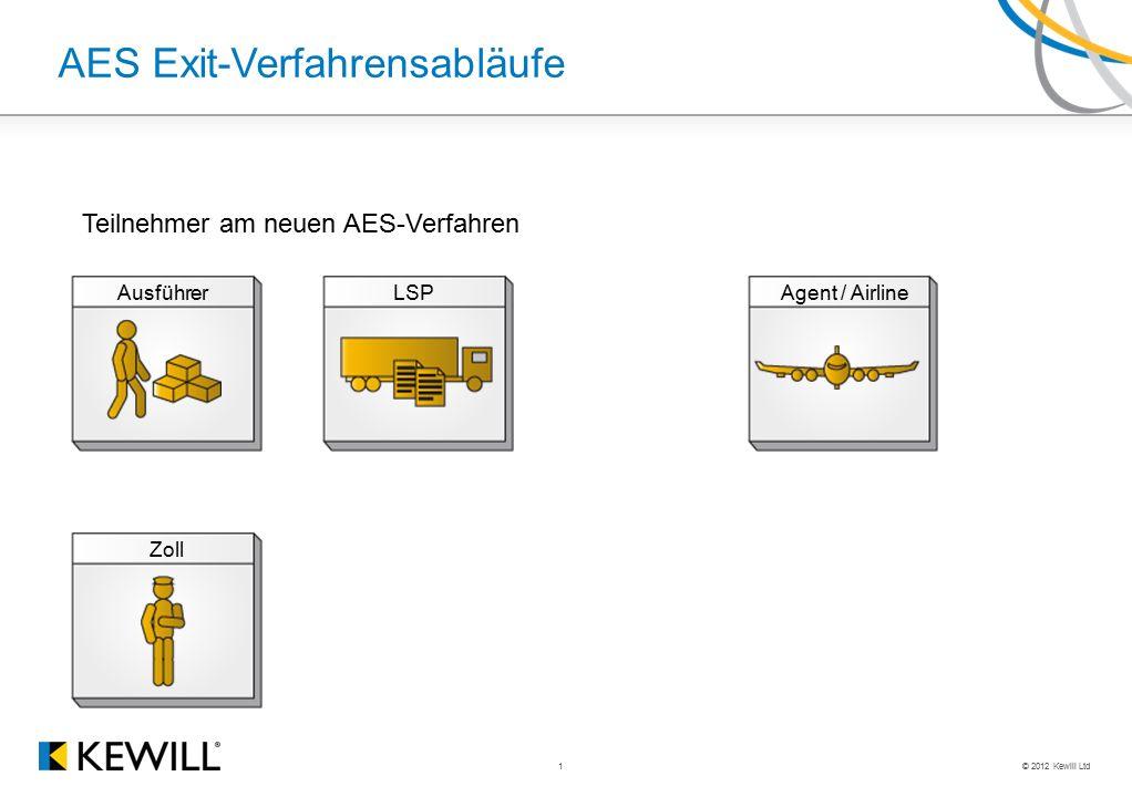 © 2012 Kewill Ltd 1 AES Exit-Verfahrensabläufe AusführerLSPAgent / Airline Zoll Teilnehmer am neuen AES-Verfahren