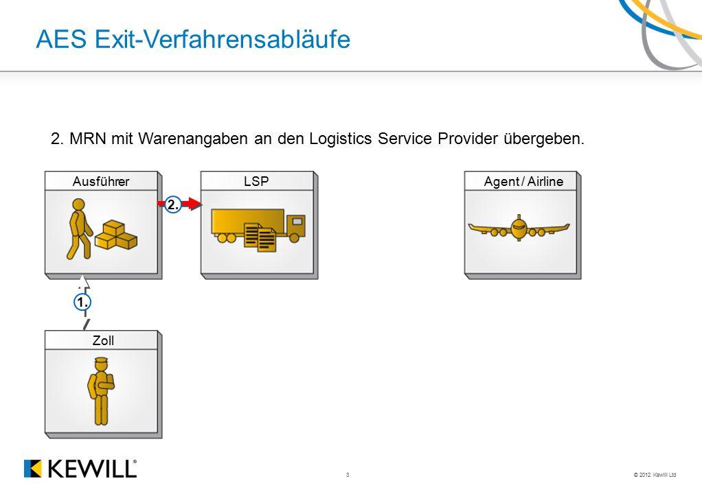 © 2012 Kewill Ltd 3 AES Exit-Verfahrensabläufe AusführerLSPAgent / Airline Zoll 2. 1. 2. MRN mit Warenangaben an den Logistics Service Provider überge