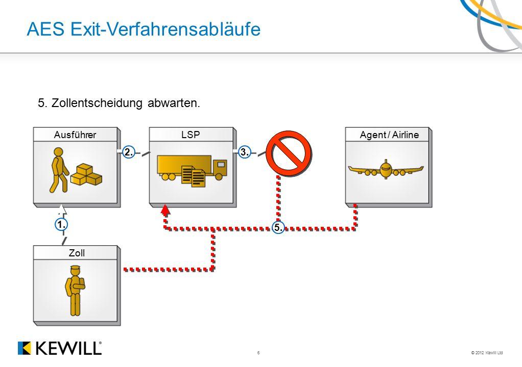 © 2012 Kewill Ltd 6 AES Exit-Verfahrensabläufe AusführerLSPAgent / Airline Zoll 2.3. 1. 5. 5. Zollentscheidung abwarten.