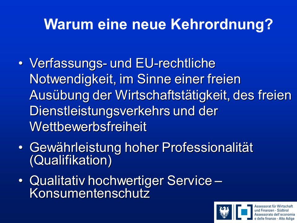 Verfassungs- und EU-rechtliche Notwendigkeit, im Sinne einer freien Ausübung der Wirtschaftstätigkeit, des freien Dienstleistungsverkehrs und der WettbewerbsfreiheitVerfassungs- und EU-rechtliche Notwendigkeit, im Sinne einer freien Ausübung der Wirtschaftstätigkeit, des freien Dienstleistungsverkehrs und der Wettbewerbsfreiheit Gewährleistung hoher Professionalität (Qualifikation)Gewährleistung hoher Professionalität (Qualifikation) Qualitativ hochwertiger Service – KonsumentenschutzQualitativ hochwertiger Service – Konsumentenschutz Warum eine neue Kehrordnung