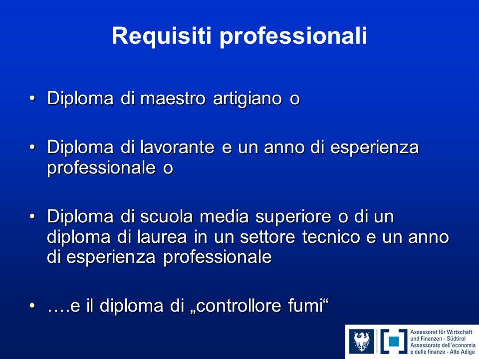 Requisiti professionali Diploma di maestro artigiano oDiploma di maestro artigiano o Diploma di lavorante e un anno di esperienza professionale oDiplo