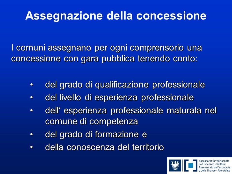Assegnazione della concessione I comuni assegnano per ogni comprensorio una concessione con gara pubblica tenendo conto: del grado di qualificazione p