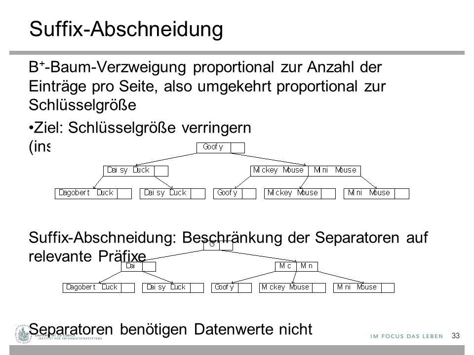 Suffix-Abschneidung B + -Baum-Verzweigung proportional zur Anzahl der Einträge pro Seite, also umgekehrt proportional zur Schlüsselgröße Ziel: Schlüsselgröße verringern (insb.