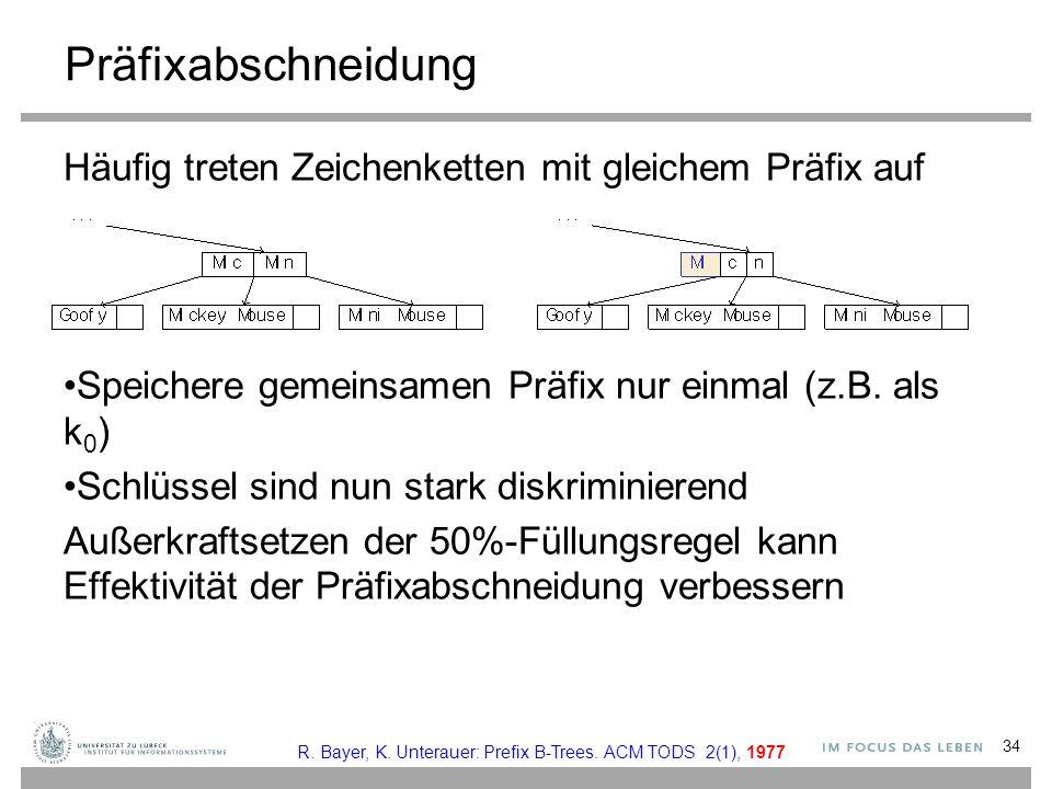 Präfixabschneidung Häufig treten Zeichenketten mit gleichem Präfix auf Speichere gemeinsamen Präfix nur einmal (z.B.