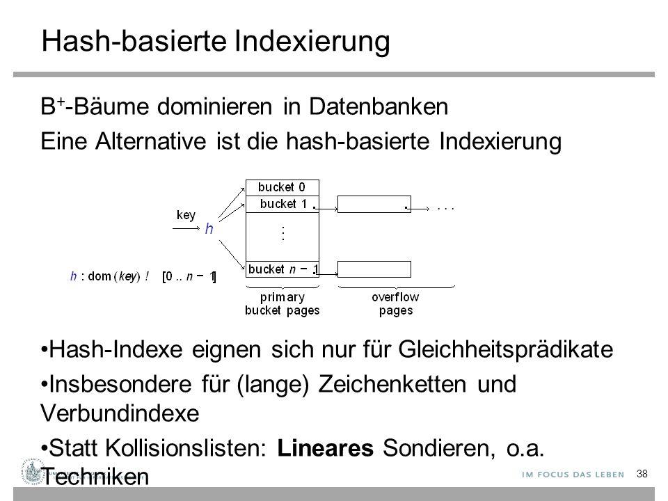 Hash-basierte Indexierung B + -Bäume dominieren in Datenbanken Eine Alternative ist die hash-basierte Indexierung Hash-Indexe eignen sich nur für Gleichheitsprädikate Insbesondere für (lange) Zeichenketten und Verbundindexe Statt Kollisionslisten: Lineares Sondieren, o.a.