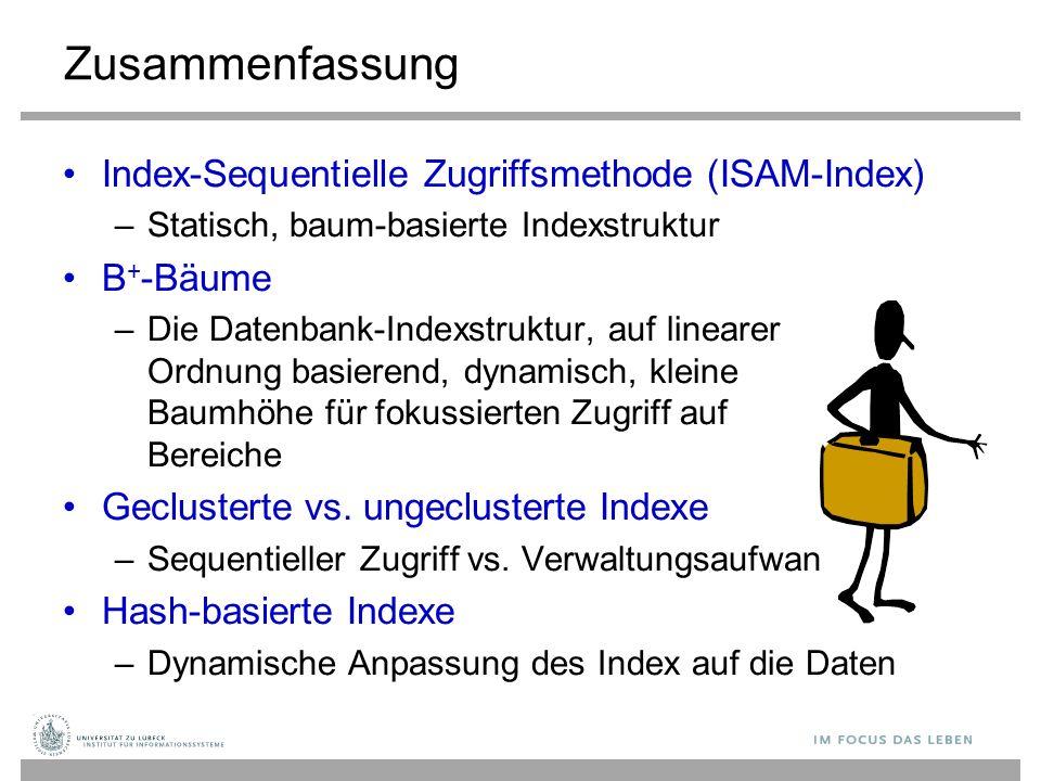 Zusammenfassung Index-Sequentielle Zugriffsmethode (ISAM-Index) –Statisch, baum-basierte Indexstruktur B + -Bäume –Die Datenbank-Indexstruktur, auf linearer Ordnung basierend, dynamisch, kleine Baumhöhe für fokussierten Zugriff auf Bereiche Geclusterte vs.