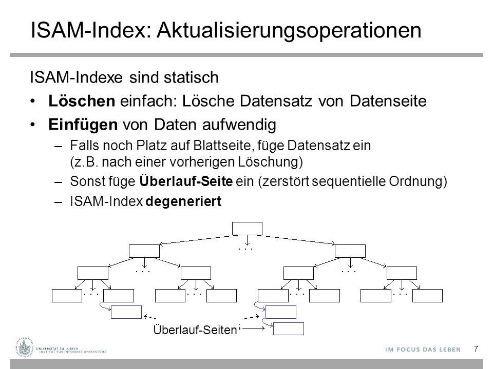 Anmerkungen Das Vorsehen von Freiraum bei der Indexerzeugung reduziert das Einfügeproblem (typisch sind 20% Freiraum) Da Seiten statisch, keine Zugriffskoordination nötig –Zugriffskoordination (Sperren) vermindert gleichzeitigen Zugriff (besonders nahe der Wurzel) für andere Anfragen ISAM ist nützlich für (relativ) statische Daten 8 Von IBM Ende der 1960er Jahre entwickelt