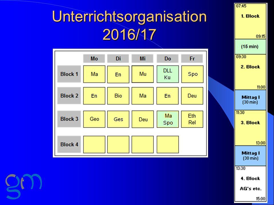 Unterrichtsorganisation 2016/17