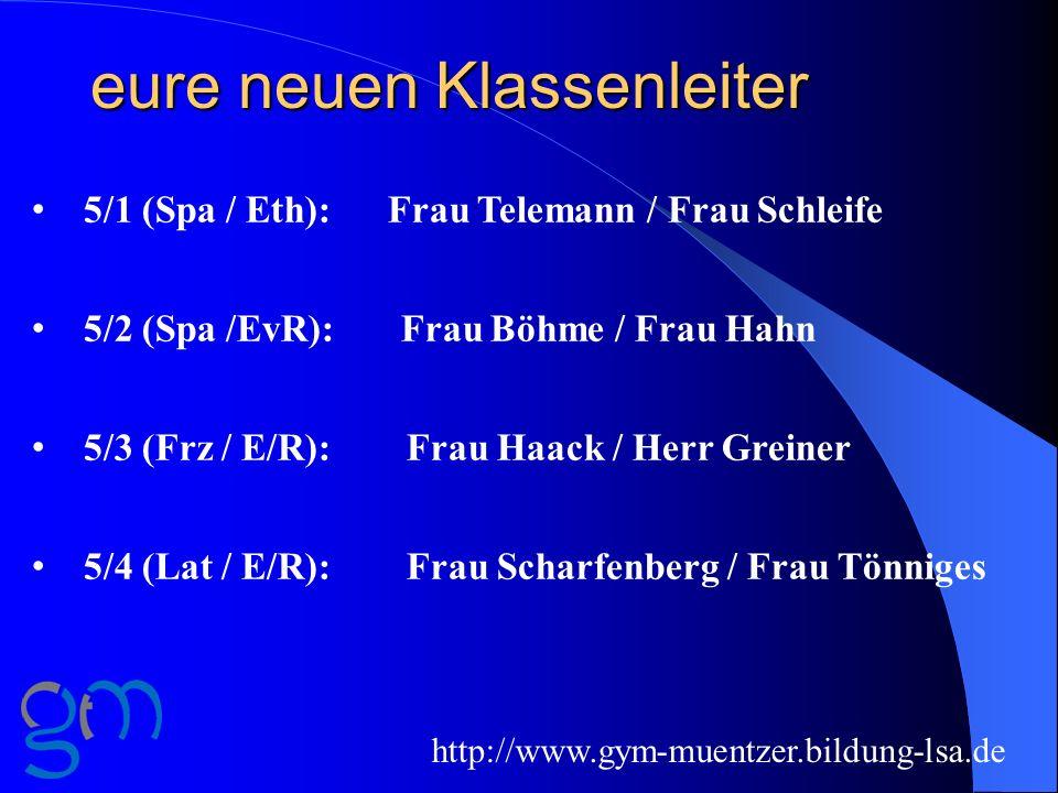 eure neuen Klassenleiter http://www.gym-muentzer.bildung-lsa.de 5/1 (Spa / Eth): Frau Telemann / Frau Schleife 5/2 (Spa /EvR): Frau Böhme / Frau Hahn
