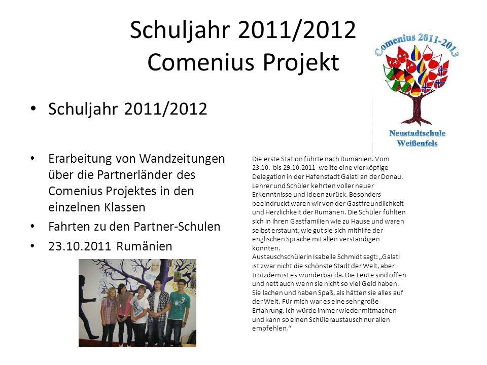 Schuljahr 2011/2012 Comenius Projekt Comenius Vorbereitungswoche Aktivitäten für letzte Schulwoche - Comenius Vorbereitungswoche 16.07.