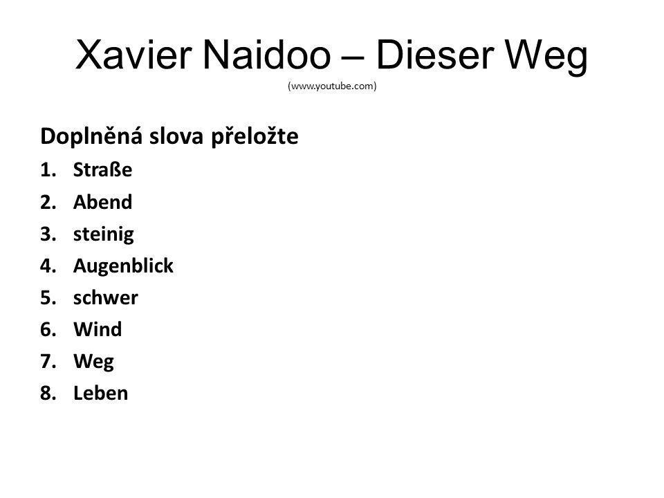 Xavier Naidoo – Dieser Weg (www.youtube.com) Doplněná slova přeložte 1.Straße 2.Abend 3.steinig 4.Augenblick 5.schwer 6.Wind 7.Weg 8.Leben