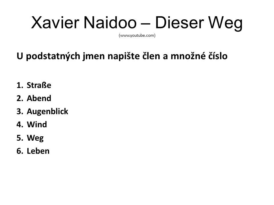 Xavier Naidoo – Dieser Weg (www.youtube.com) U podstatných jmen napište člen a množné číslo 1.Straße 2.Abend 3.Augenblick 4.Wind 5.Weg 6.Leben