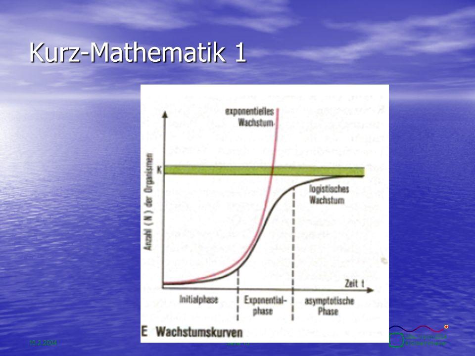 10.2.2004Seite 15 UBA-Vision 2004 © Gilbert Ahamer Kurz-Mathematik 1