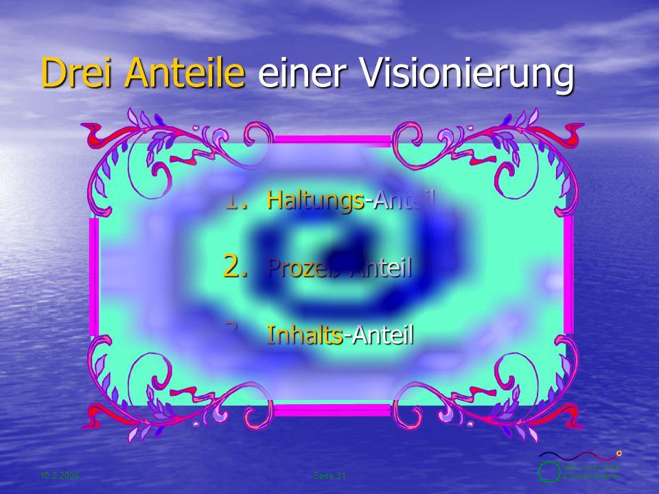 10.2.2004Seite 31 UBA-Vision 2004 © Gilbert Ahamer Drei Anteile einer Visionierung 1. Haltungs-Anteil 2. Prozeß-Anteil 3. Inhalts-Anteil
