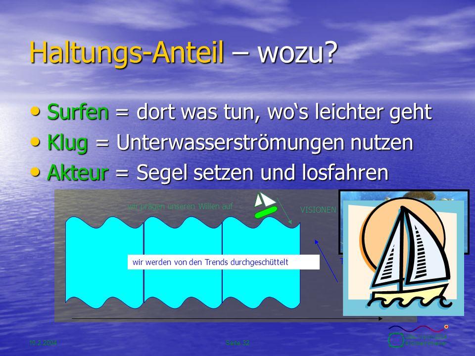 10.2.2004Seite 32 UBA-Vision 2004 © Gilbert Ahamer Haltungs-Anteil – wozu? Surfen = dort was tun, wo's leichter geht Surfen = dort was tun, wo's leich