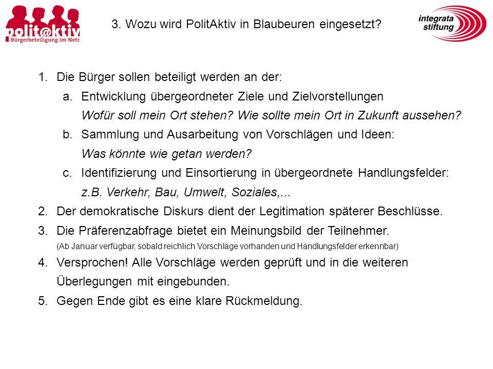3. Wozu wird PolitAktiv in Blaubeuren eingesetzt.