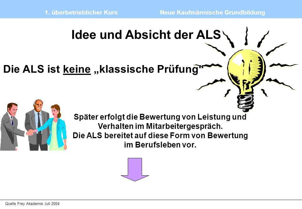 """1. überbetrieblicher Kurs Neue Kaufmännische Grundbildung Quelle Frey Akademie Juli 2004 Idee und Absicht der ALS Die ALS ist keine """"klassische Prüfun"""